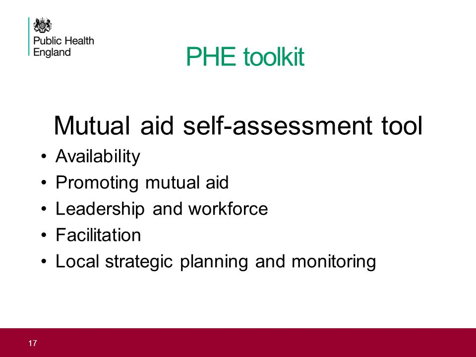 Mutual aid self-assessment tool