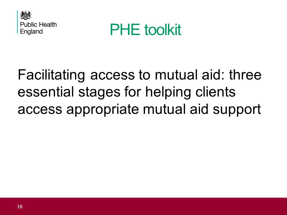 PHE toolkit Facilitating access to mutual aid: three essential stages for helping clients access appropriate mutual aid support.