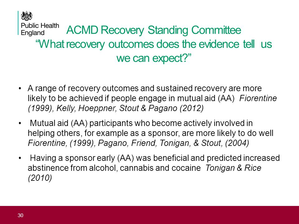 ACMD Recovery Standing Committee What recovery outcomes does the evidence tell us we can expect