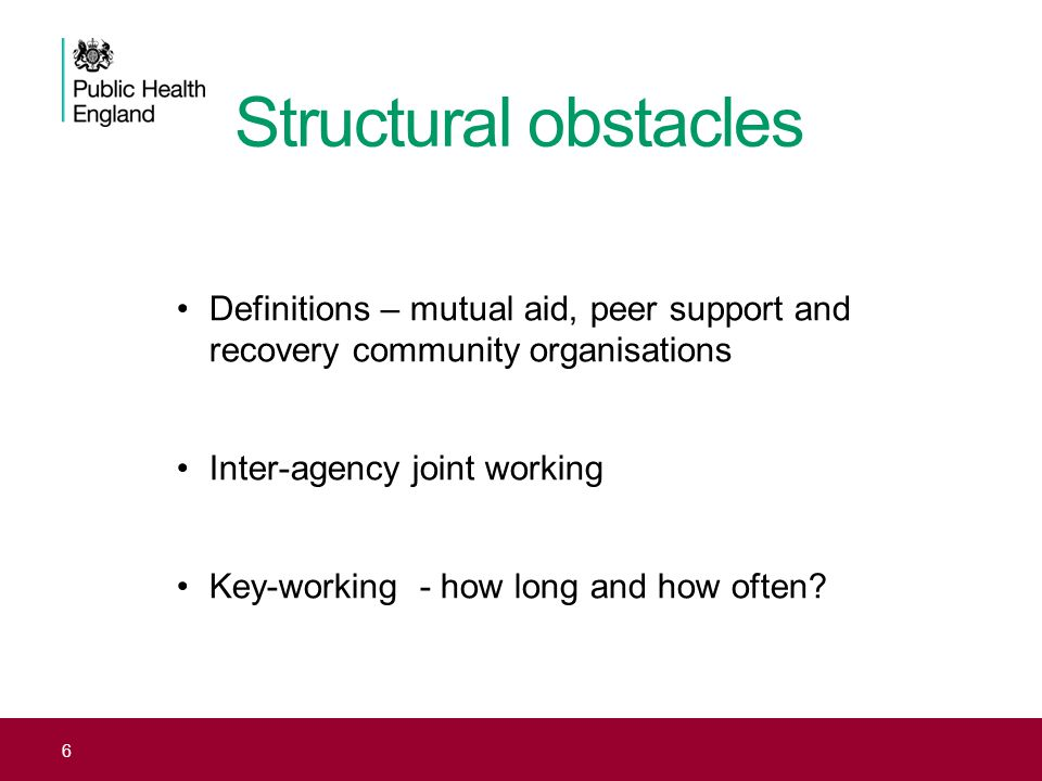 Structural obstacles Definitions – mutual aid, peer support and recovery community organisations. Inter-agency joint working.