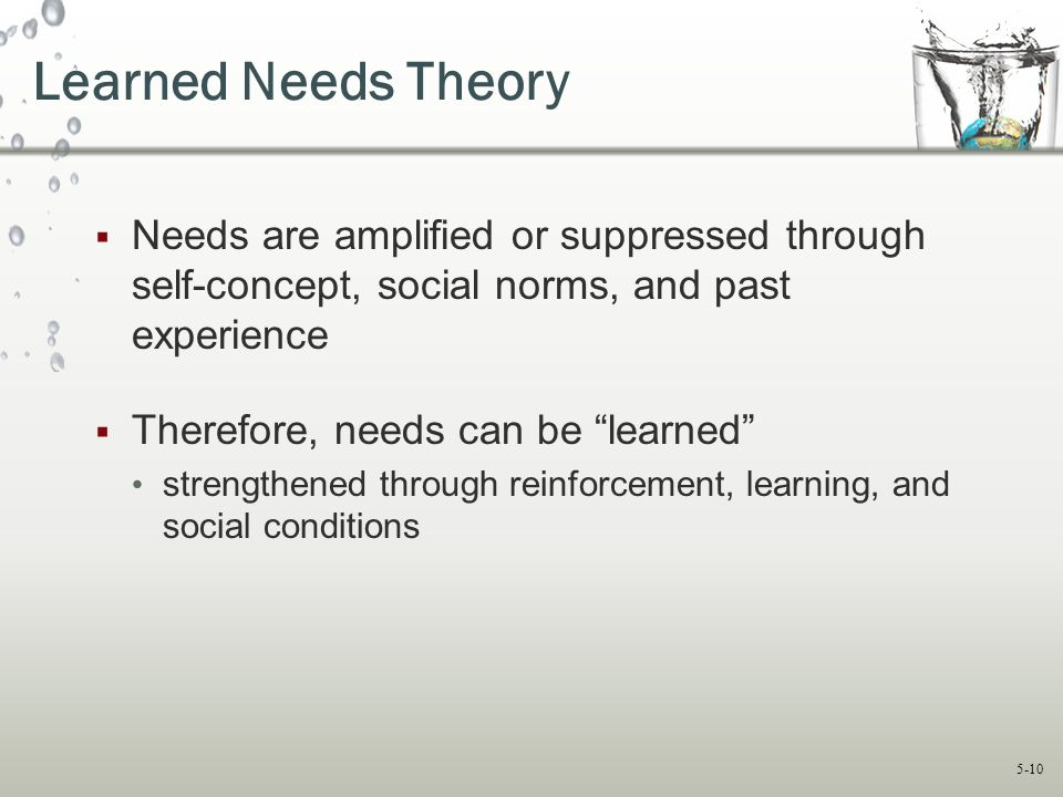Learned Needs Theory Needs are amplified or suppressed through self-concept, social norms, and past experience.
