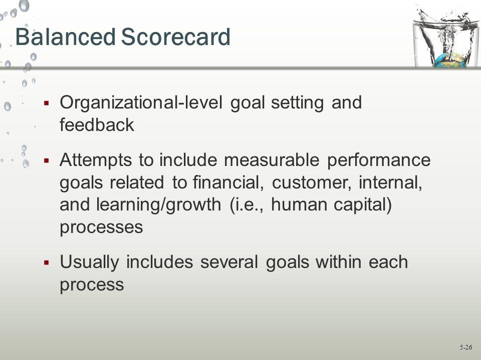 Balanced Scorecard Organizational-level goal setting and feedback