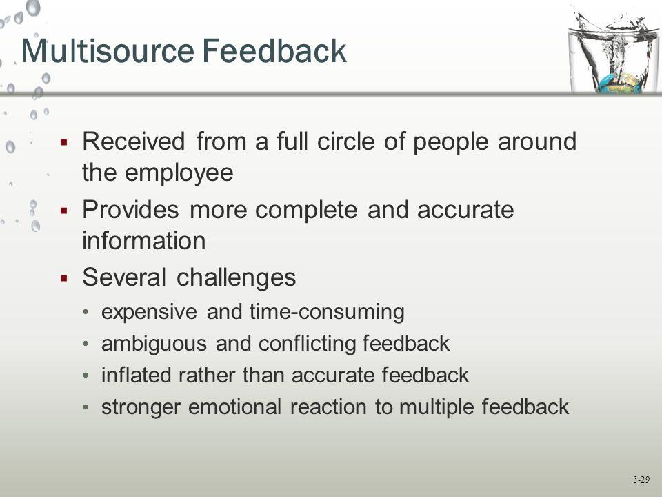Multisource Feedback Received from a full circle of people around the employee. Provides more complete and accurate information.