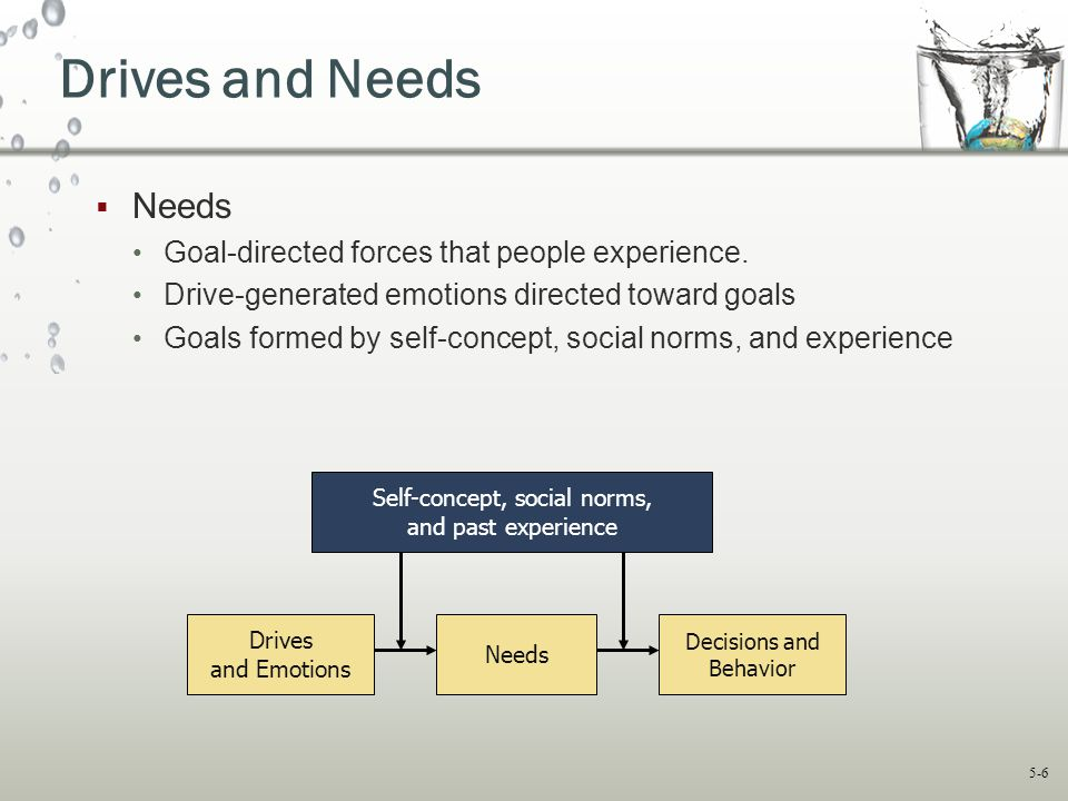 Drives and Needs Needs Goal-directed forces that people experience.