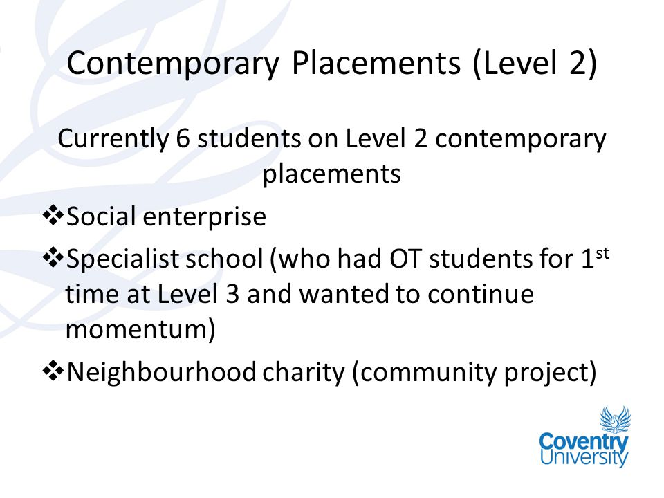 Contemporary Placements (Level 2)