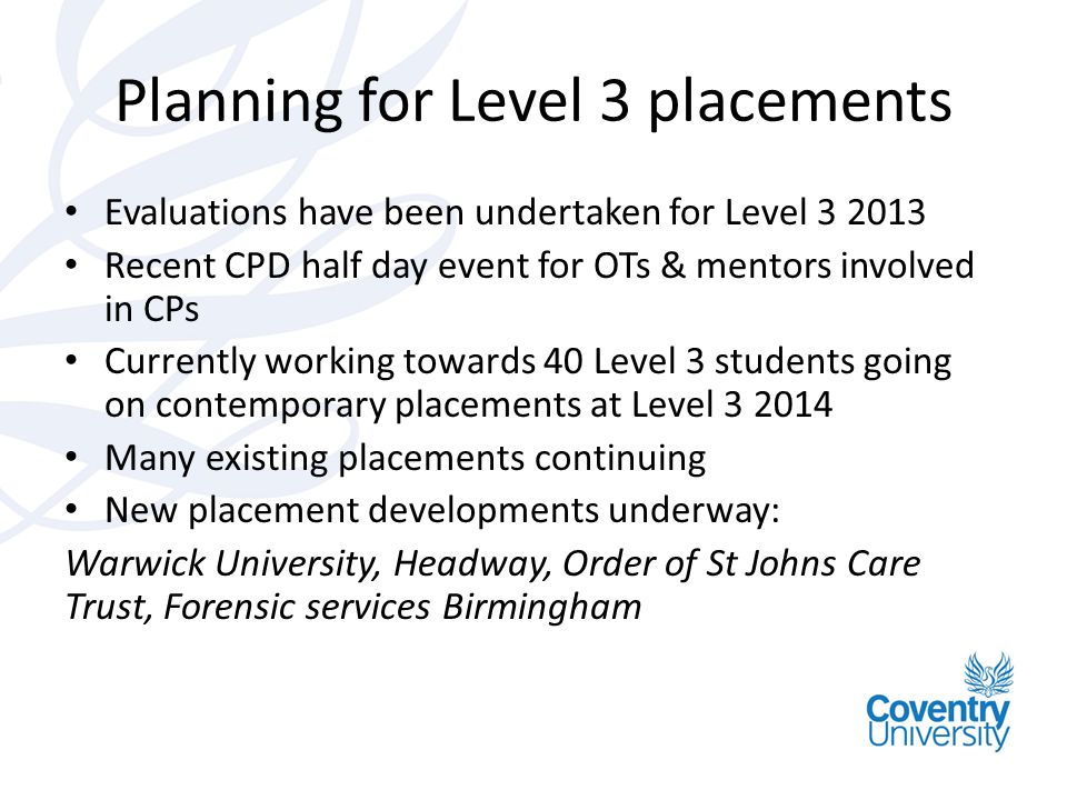 Planning for Level 3 placements
