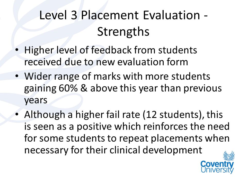 Level 3 Placement Evaluation - Strengths