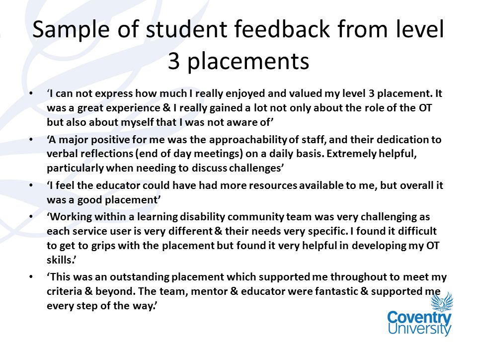 Sample of student feedback from level 3 placements