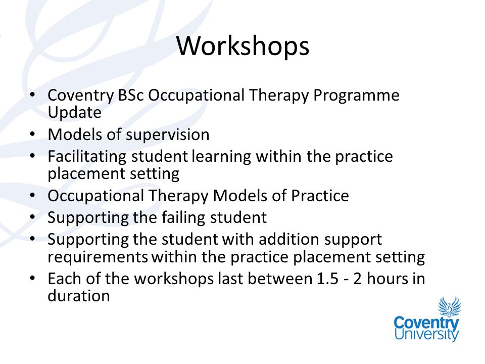 Workshops Coventry BSc Occupational Therapy Programme Update