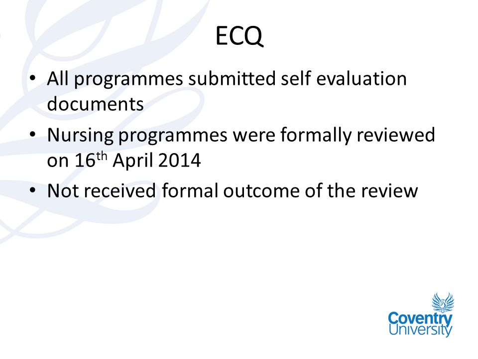 ECQ All programmes submitted self evaluation documents