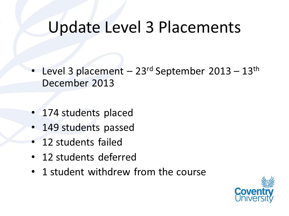 Update Level 3 Placements