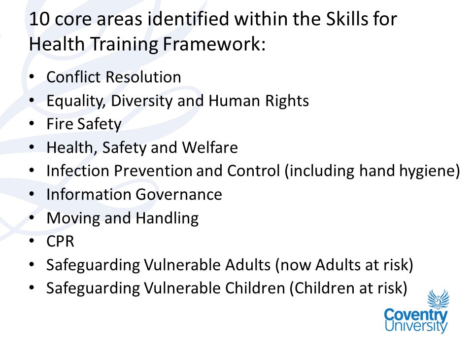 10 core areas identified within the Skills for Health Training Framework: