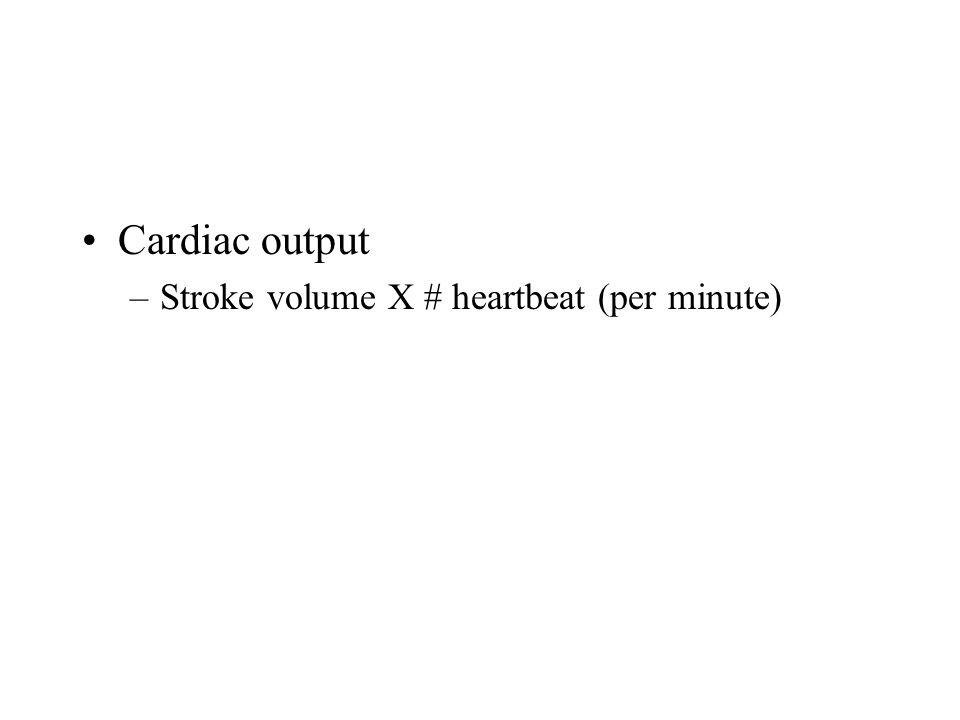 Cardiac output Stroke volume X # heartbeat (per minute)