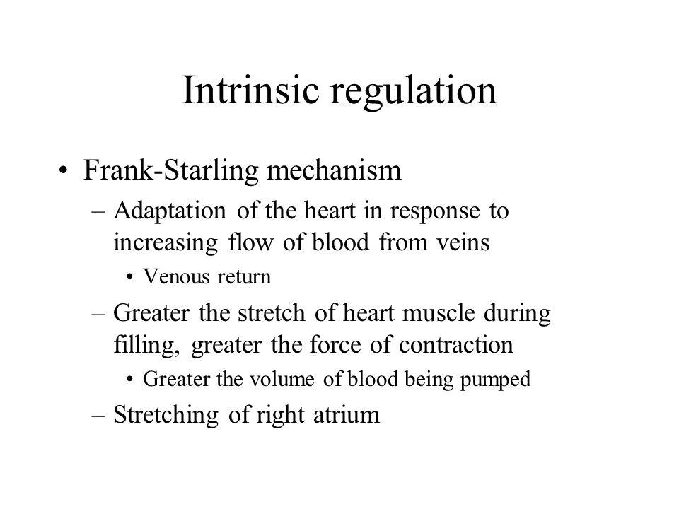 Intrinsic regulation Frank-Starling mechanism