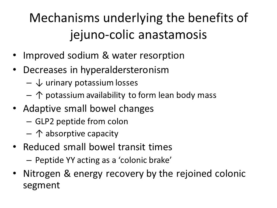 Mechanisms underlying the benefits of jejuno-colic anastamosis