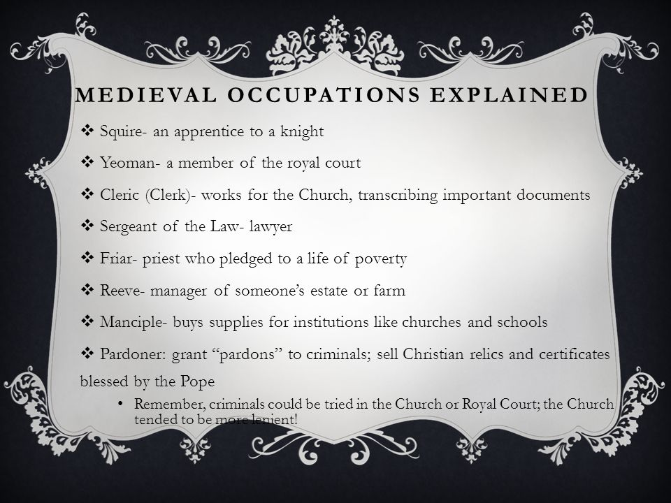 Medieval Occupations Explained