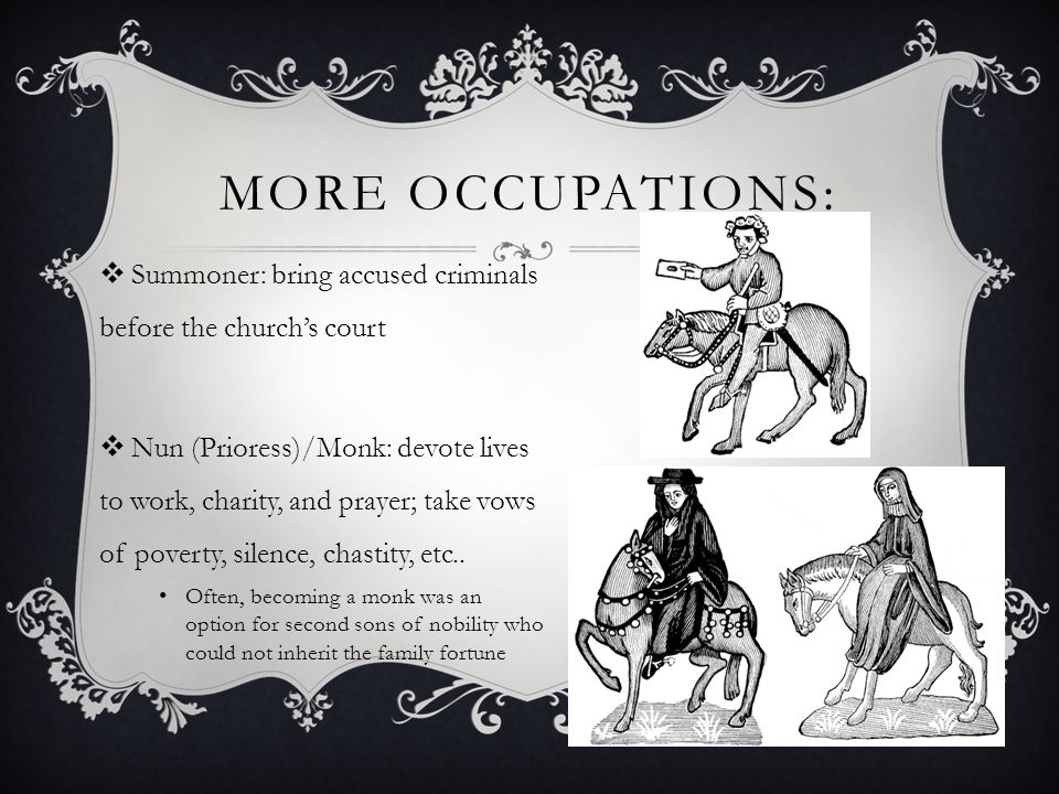 More Occupations: Summoner: bring accused criminals before the church's court.