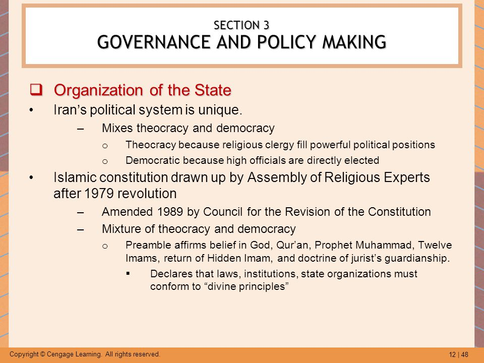 SECTION 3 GOVERNANCE AND POLICY MAKING
