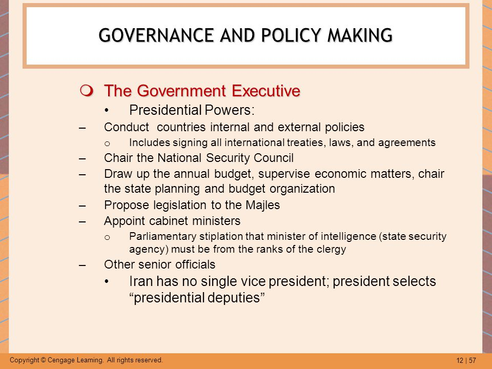 GOVERNANCE AND POLICY MAKING