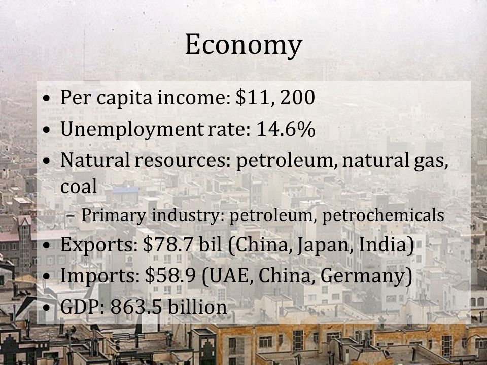 Economy Per capita income: $11, 200 Unemployment rate: 14.6%