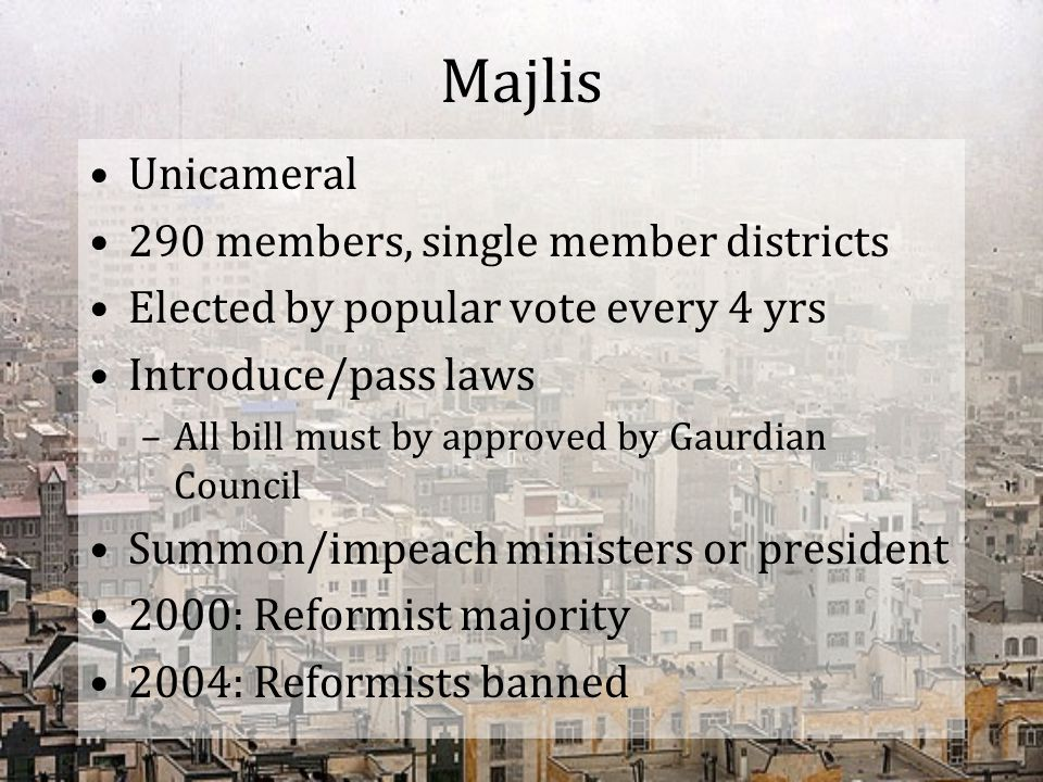 Majlis Unicameral 290 members, single member districts