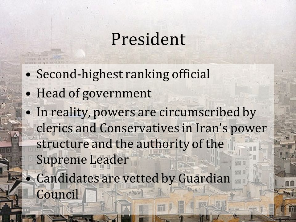 President Second-highest ranking official Head of government