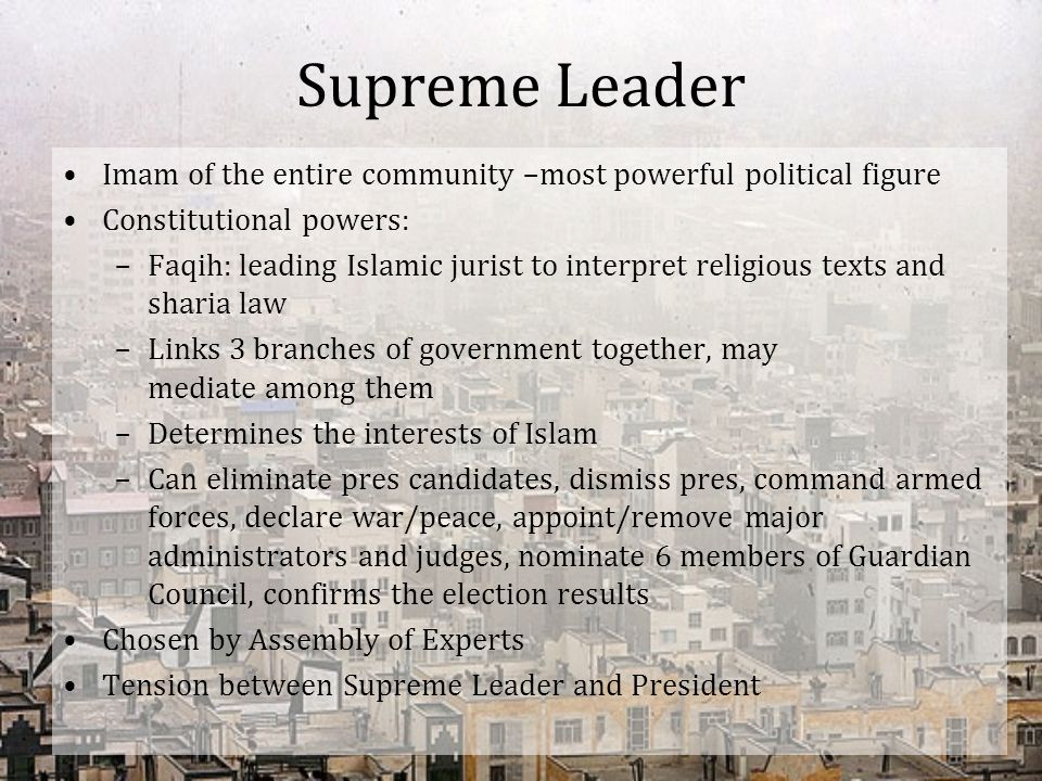 Supreme Leader Imam of the entire community –most powerful political figure. Constitutional powers: