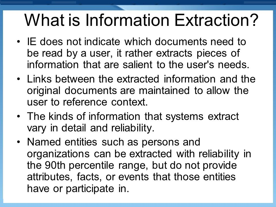 What is Information Extraction