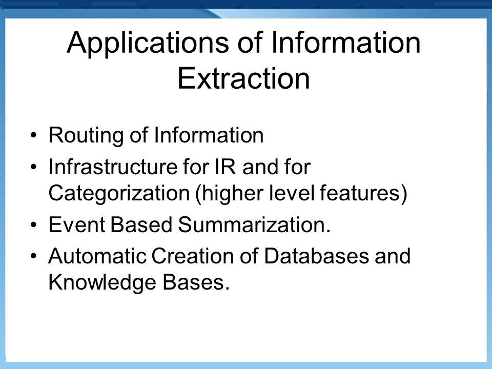 Applications of Information Extraction