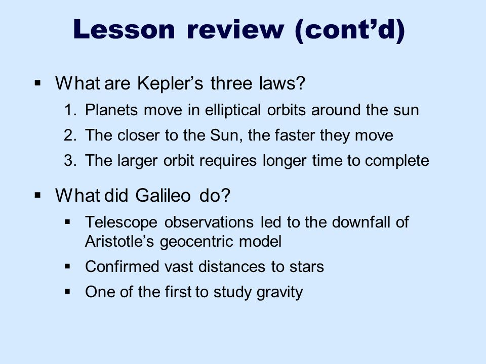 Lesson review (cont'd)