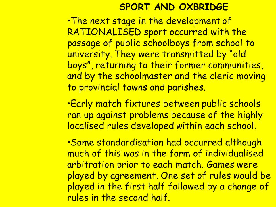 SPORT AND OXBRIDGE