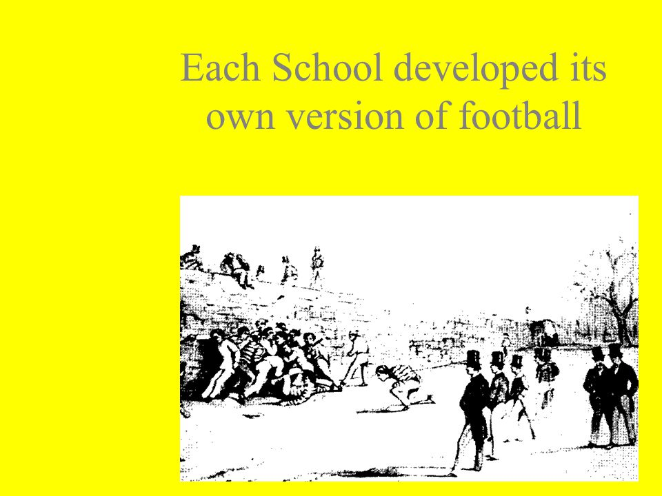 Each School developed its own version of football