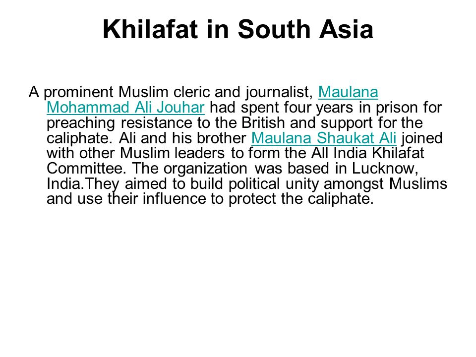 Khilafat in South Asia