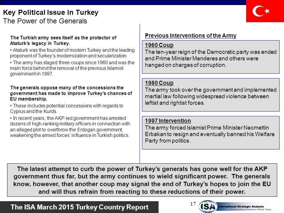 Key Political Issue in Turkey The Power of the Generals