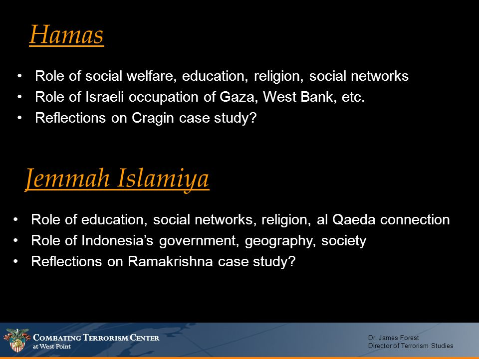 Hamas Role of social welfare, education, religion, social networks. Role of Israeli occupation of Gaza, West Bank, etc.