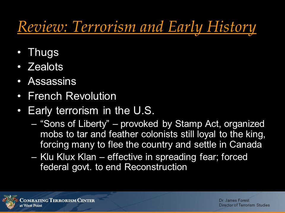 Review: Terrorism and Early History
