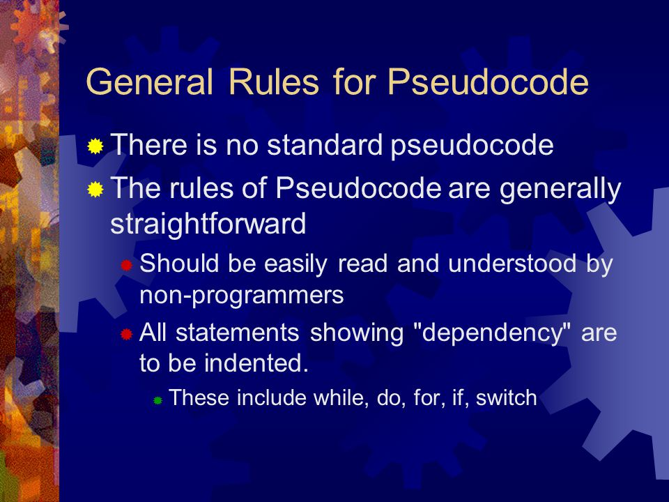 General Rules for Pseudocode
