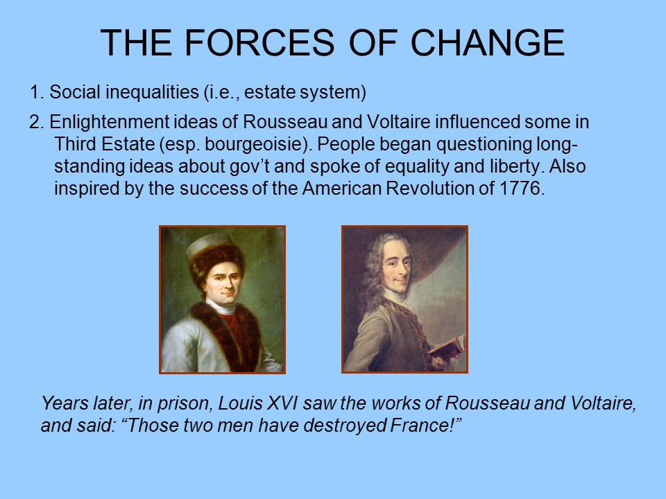 THE FORCES OF CHANGE 1. Social inequalities (i.e., estate system)