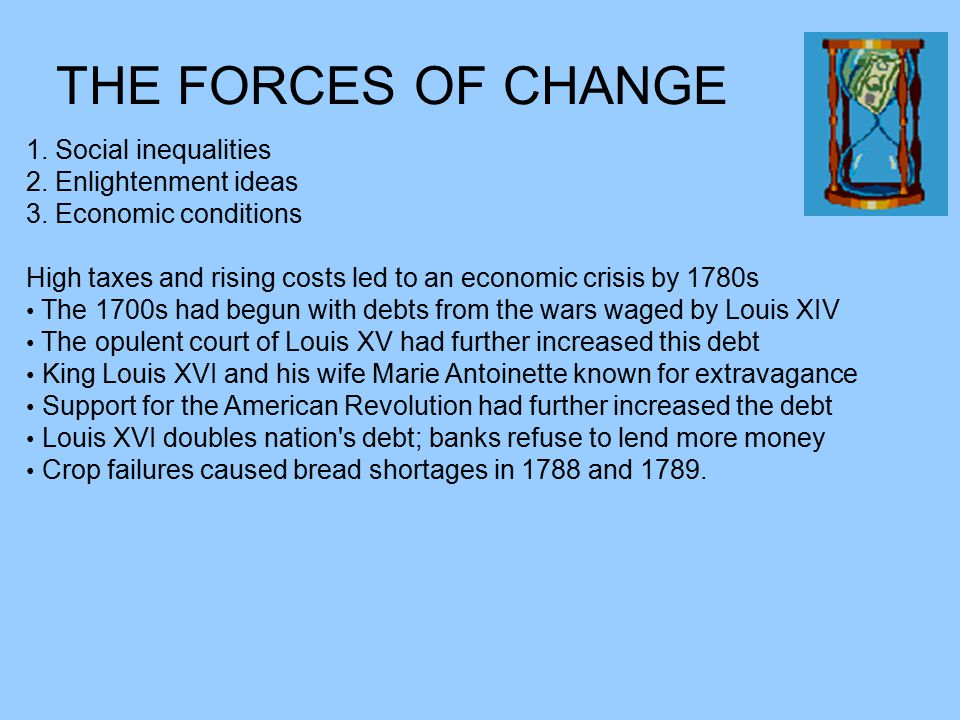 THE FORCES OF CHANGE 1. Social inequalities 2. Enlightenment ideas