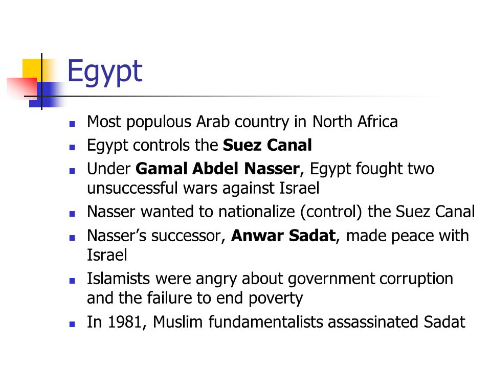 Egypt Most populous Arab country in North Africa