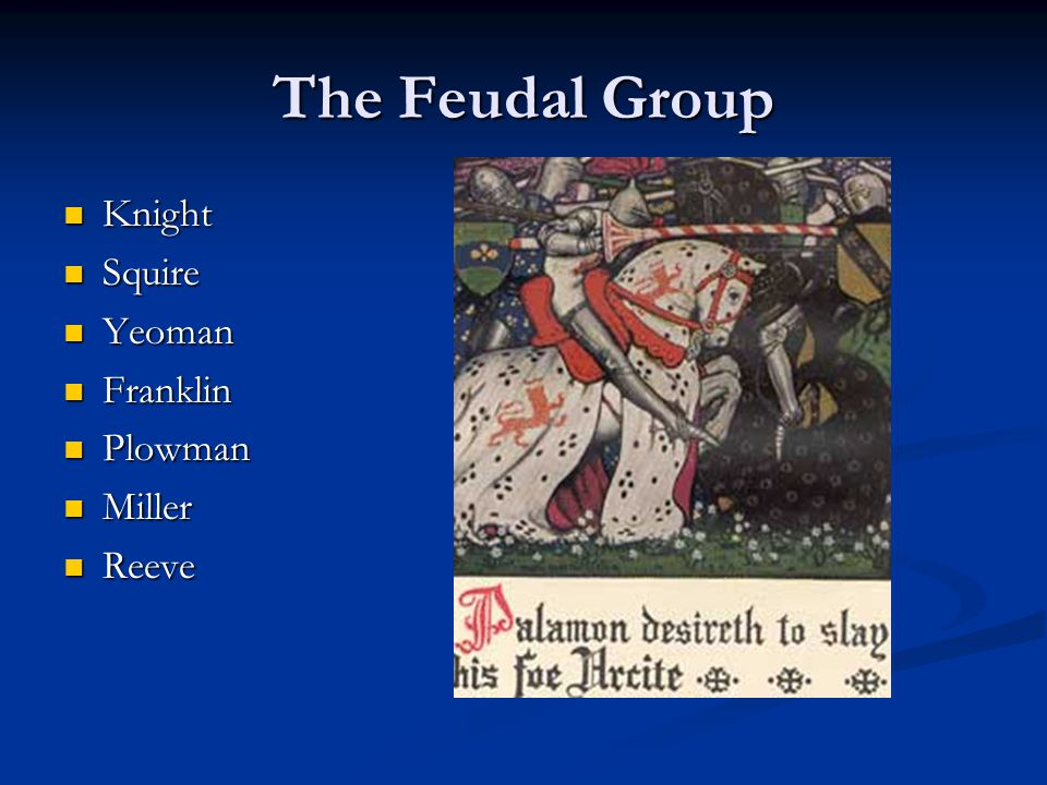 The Feudal Group Knight Squire Yeoman Franklin Plowman Miller Reeve