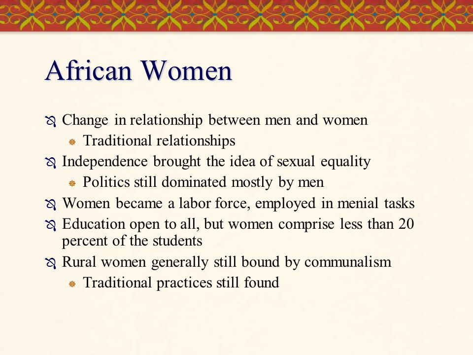 African Women Change in relationship between men and women