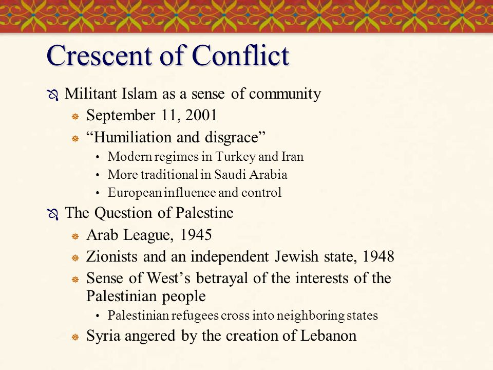 Crescent of Conflict Militant Islam as a sense of community