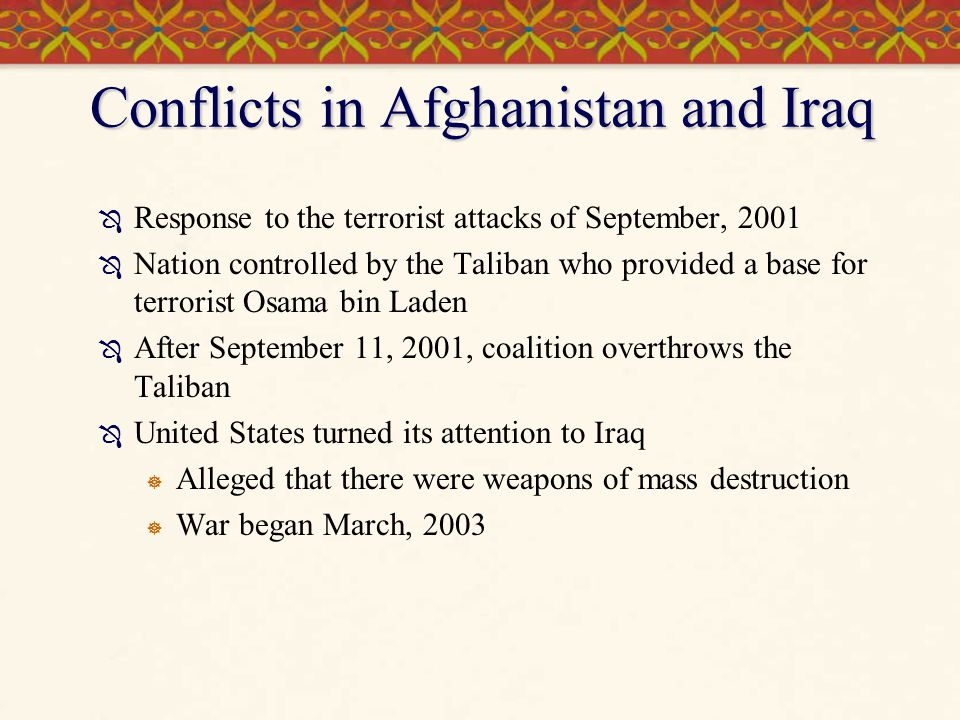 Conflicts in Afghanistan and Iraq