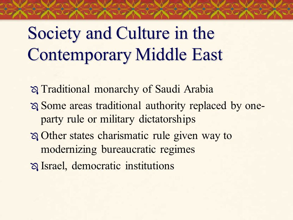 Society and Culture in the Contemporary Middle East
