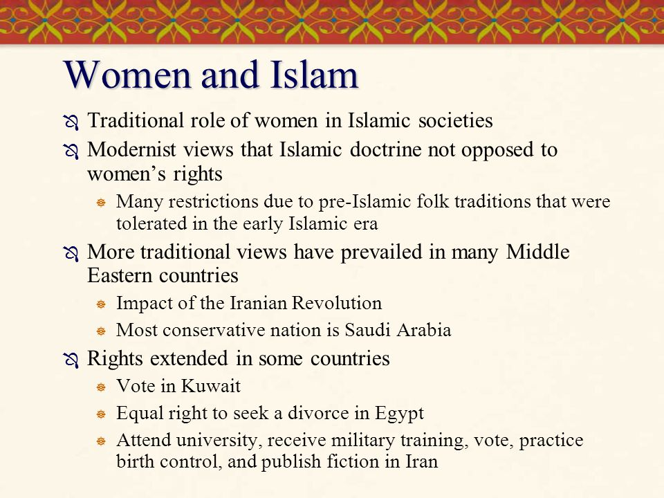 Women and Islam Traditional role of women in Islamic societies