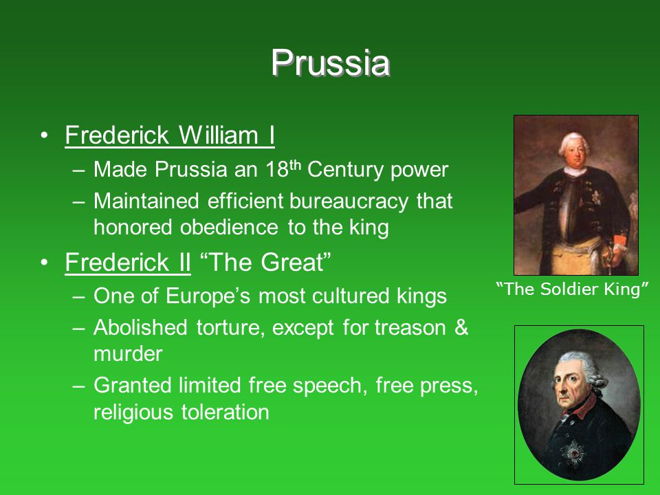Prussia Frederick William I Frederick II The Great