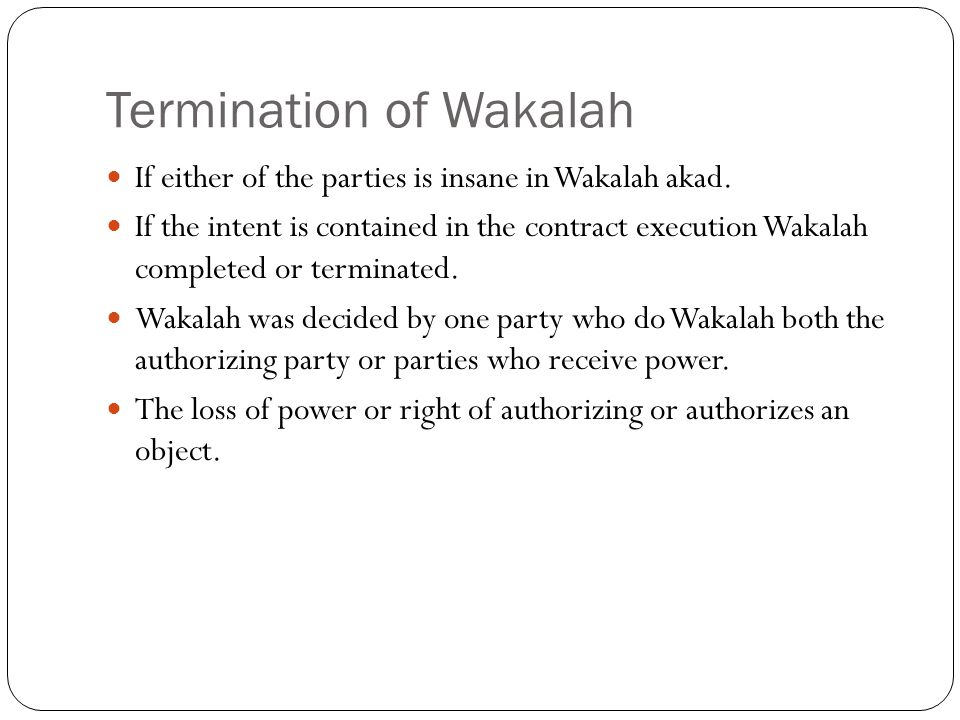 Termination of Wakalah