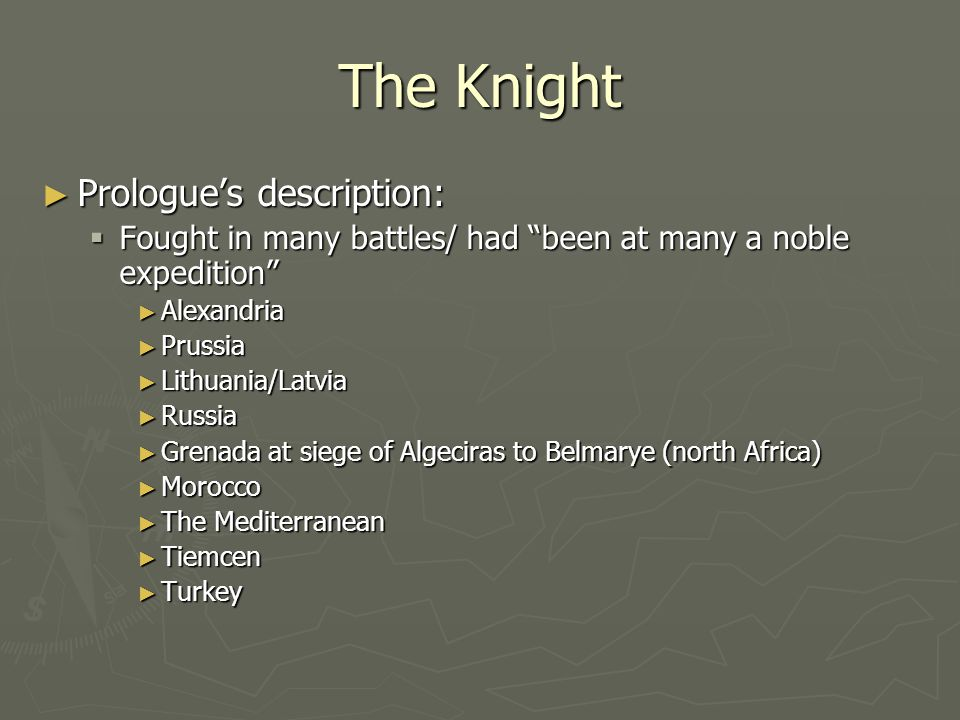 The Knight Prologue's description: