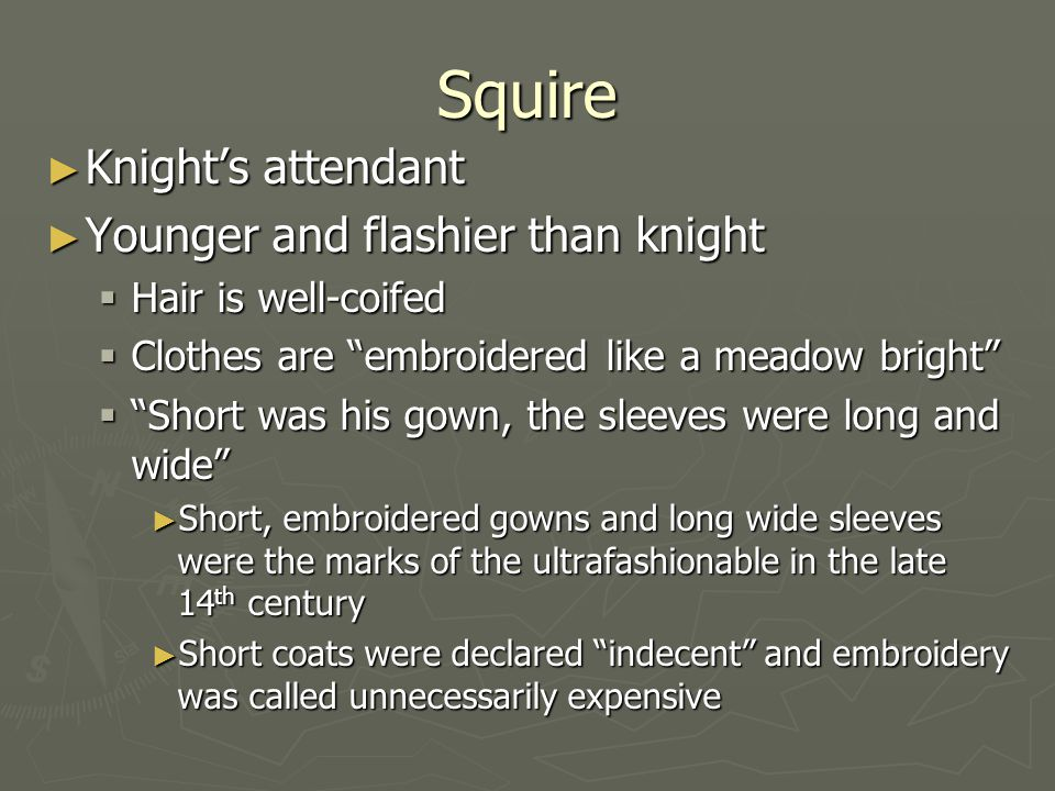 Squire Knight's attendant Younger and flashier than knight